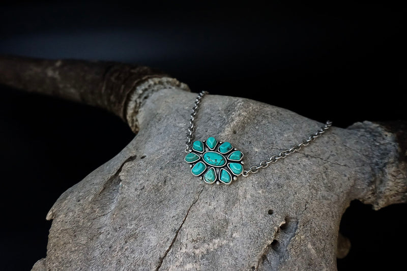 Turquoise Flower Choker Necklace
