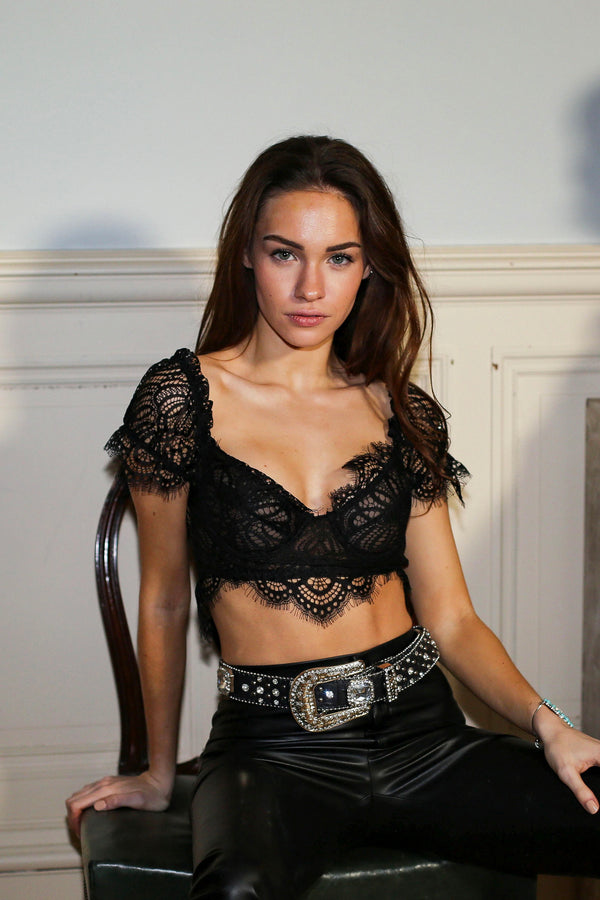 The Electra Black Lace Crop Top
