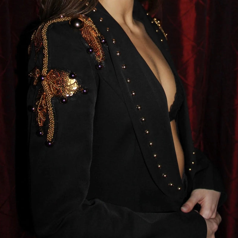 Black Tailored Blazer with bronze sequins and studs.