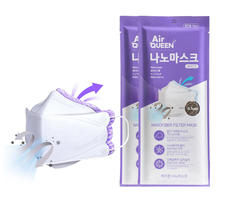 Air Queen Nanofiber Filter Mask (White) - Air Queen