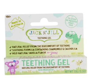 Jack N' Jill Teething Gel temporarily relieves the symptoms of restlessness, irritability and sore gums due to teething. Soothing formula containing chamomile and calendula. Natural alternative to Bonjela. Mild natural vanilla flavour. Benzocaine & belladonna free. Suitable from 4 months. Vegan. Made in Australia.