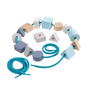 These Lacing Beads encourage children to develop fine motor skills, creativity, and concentration. It consists of 15 beads in 3 different geometric shapes and 2 laces. Children can create endless patterns from their imagination.  Suitable from 2yrs+  Product Dimension: 3x3x3.7 cm / 1.18x1.18x1.46 inch Item Weight: 0.37 kg / 0.816 lbs
