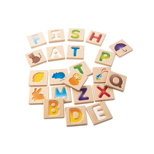 Develop your fundamental skills with this alphabet set. The two-sided wooden tiles feature 26 intended capital letters and pictures of objects that correspond to the letter. Trace the letters with your finger and expand your vocabulary! Suitable for 2 yrs+
