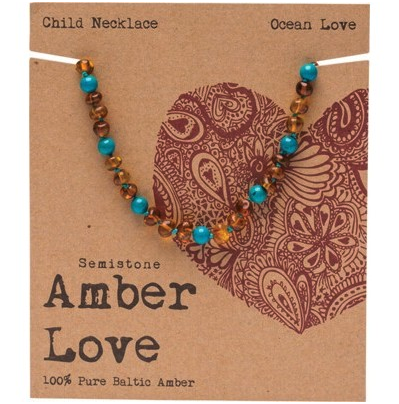 Amber Love Children's Necklace Baltic Amber Ocean Love