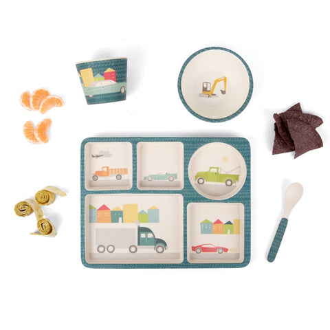 Love Mae 5 Piece Bamboo Dinner Set Cars