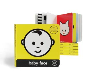Newborn babies love looking at faces. In fact, the human face is the first thing that your baby will come to recognise. Baby will be attracted to the black and white designs in the beginning of the book, and then can progress through the book as they start to see brighter colour and eventually, lighter tones.