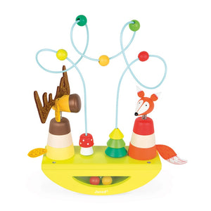 Created from FSC wood and painted in soft water colours, try to balance the rocker while stacking the pieces to form the elk and the fox and watch their little heads bobble as it moves. Look through the window and see the balls in the bottom of the rocker roll about with the movement in the base.