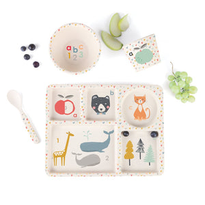 This bamboo dinnerware set of everything baby needs to start their foodie journey comes beautifully boxed for gifting or unpacking in your own home. All Bamboo pieces are: Dishwasher safe  BPA and Phthalates free FDA & LFGB food safe approved. Includes: 5 Section Divided Plate, Small Bowl, Cup, Spoon, Suction Cap.