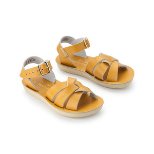 The Swimmer has a narrower fit than some other Salt Water sandal styles and comes with a lightweight, cushioned urethane sole. Rustproof brass buckles and durable, water-friendly leather make them ideal to last all summer long. Easy to clean, hard to scuff. Toddler and children sizes.