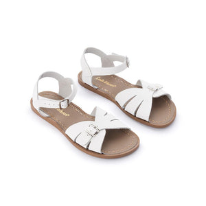 The Salt Water Classic, made from waterproof leather and a rustproof buckle. Children and toddler sizes for the beach. Hand-stitched, non-slip, moulded rubber sole with adjustable straps – which makes them great for those who want something other than a standard fitting sandal.