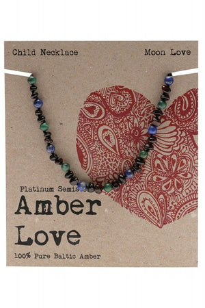 Amber Love Children's Necklace Baltic Amber Moon Love