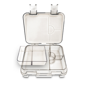 "The Easy Clean kids Bento lunchbox is perfect for school lunches. Durable, drop tested and ready to handle ""rough play""! With airtight silicon seals the Easy Clean Bento is 100% leakproof and prevents spillage between compartments. Mould-proof design. 4 sections (mirroring the silicon seals) plus 2 removable sections."