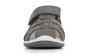 Marlon, a boys caged toe self-fastening sandal for children and toddlers – Crafted from a genuine leather upper/synthetic lining. Caged toe provides protection for the little feet inside. The adjustable strap provides a secure fit and TPR sole unit is lightweight, provides grip and flexibility for those first steps.