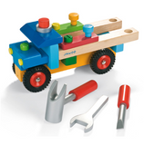 Just what every builder needs - a truck complete with tools of the trade. This chunky truck is perfectly sized for little hands, has moveable rubber wheels and wooden tools such as a screwdriver, hammer and wrench. Chunky bolts and screws are stored in the truck ready for use. Suitable for ages 2 - 4 years.