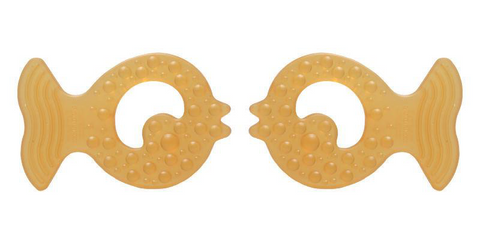 Natural Rubber Soothers Fish Teether Twin Pack