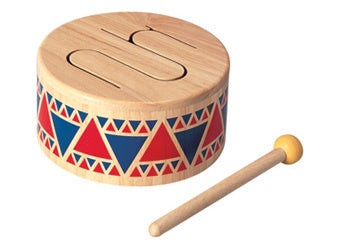 This colourful drum provides different tones. The drumstick included has a natural rubber stopper on the end that makes a pleasant sound when it strikes the drum. Suitable from 18 mths+ Product Dimension: 16x16x8.5 cm / 6.3x6.3x3.35 inch Item Weight: 0.52 kg / 1.147 lbs
