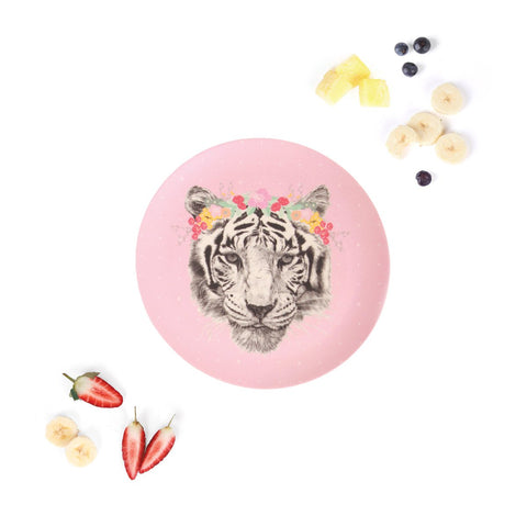 Love Mae Large Plate Floral Tiger