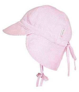This cute Toshi baby cap has a neck flap for increased sun protection. A head tie creates adjustable sizing and the chin tie secures the cap.Made from quality cotton, the Flap Cap Baby is functional, practical and gentle to wear. Features: Chin tie to secure hat Head tie for adjustable sizing.