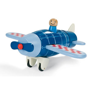 A cleverly designed toy that is also a puzzle, this plane is made from wood and comes apart into 5 pieces. Each of the pieces have magnet connectors which encourage you to fit it back together. With movable propeller, it's waiting for its first flying adventure! Dimensions: 17cm x 21cm x 8.5cm. Age Range: 18 months+.