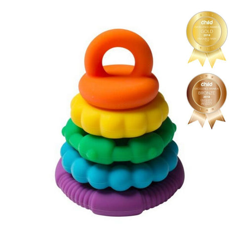 The Stacker is a multi-purpose toy, as your child will quickly discover the stacking rings make soothing teethers! Babies love chewing on the silicone rings and older children can practise hand-eye coordination by stacking the rings, using creative thinking and problem solving skills to put the stacker back together.