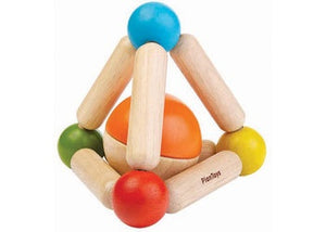 This Triangle clutching toy comes with a two-tone ball that is detachable and can also be played as a rattle. This enhances fine motor skills while child grasps and rattles. Suitable from 18 mths+