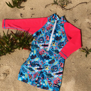 Super fun baby swimwear. Long front zip for speedy and EASY changes. High neck to protect this exposed area which easily gets burnt. Stretch and fade resistant to withstand a summer of adventurers! Hand made with love using premium soft-on-the-skin, summer-tough fabric with UPF 50+ for maximum UV protection.