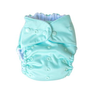 This Pocket Modern Cloth Nappy is suitable to use on babies from 4kg through to toilet training, you simply adjust the rise snaps on the front of the nappy to adjust the size. This MCN includes two bamboo fleece inserts for adjustable absorbency which give you up to 9 layers in the wet-zone.