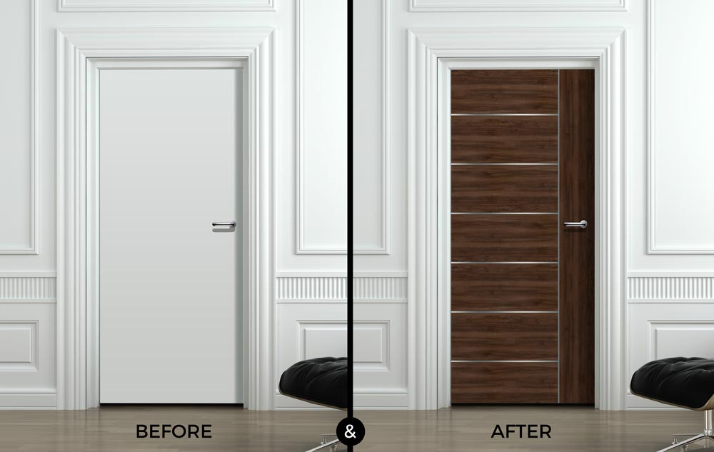 Before and after your door wallpaper choice