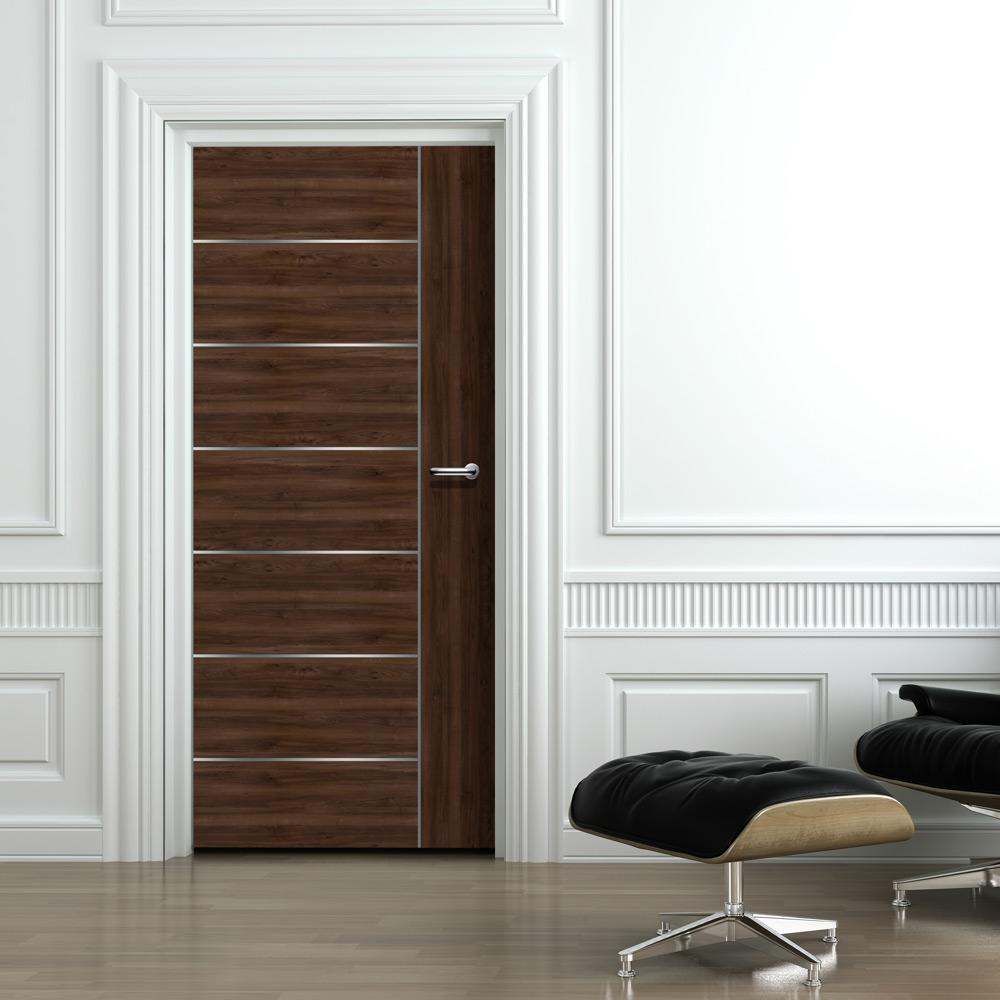 Elegant Silver-Lined Walnut Living Room Door