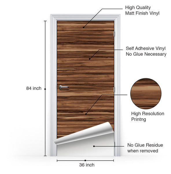 Caribbean Natural Walnut Door Mural - DoorTouch