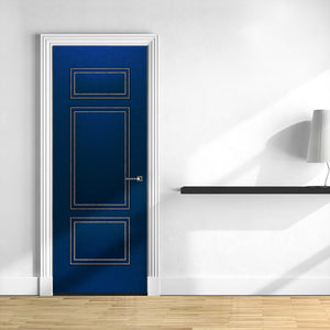 Blue Upholstered Leather Door Mural Wallpaper | Doortouch