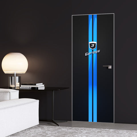 Blue Stripes Garage Door Sticker - DoorTouch