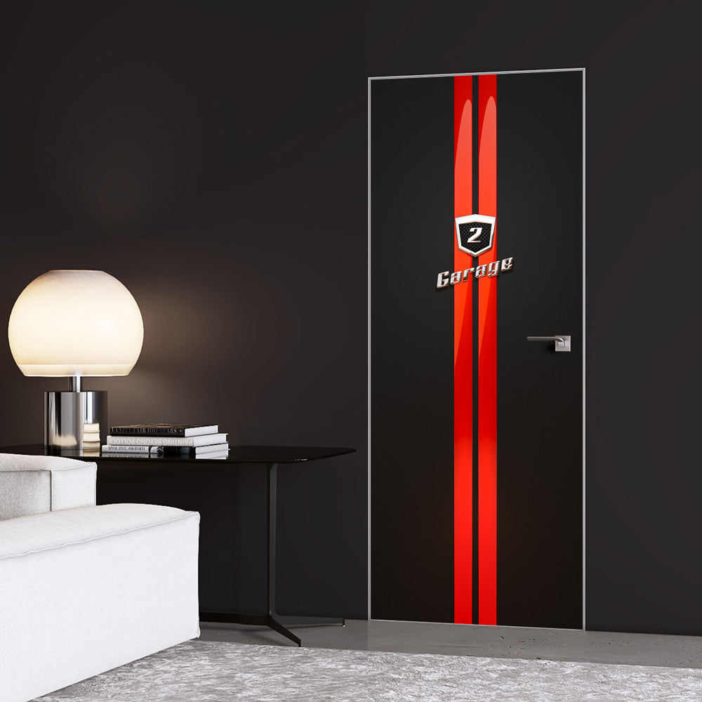 Red Stripes Garage Door Sticker - DoorTouch
