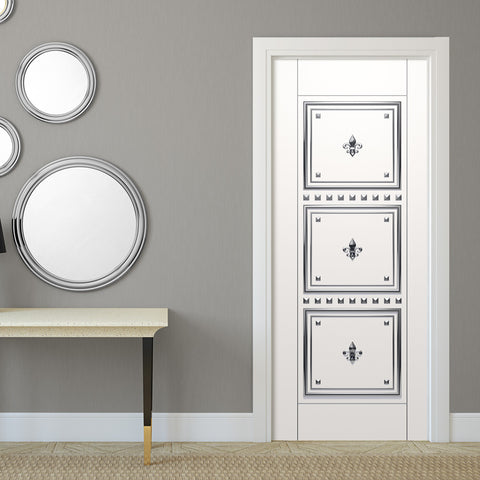 Modern Chic White Door Wallpaper - Fleur De lis design Motif | Doortouch