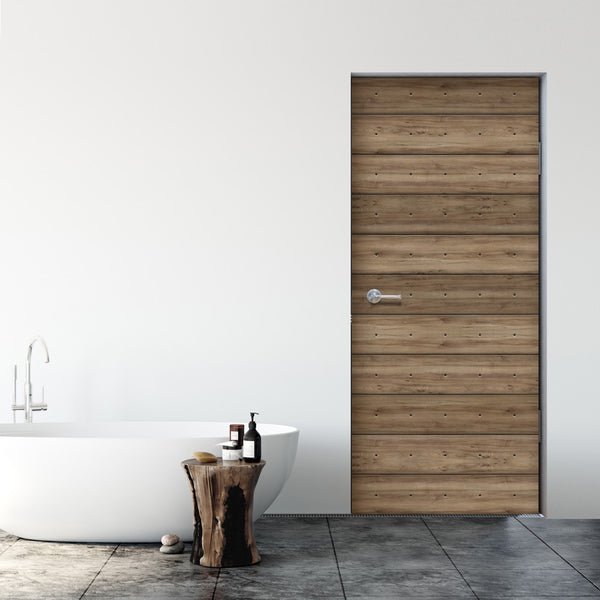 Walnut Plank Wood Door Wallpaper - DoorTouch