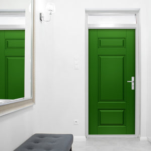 Classical Style Green Door Mural on front door | Doortouch