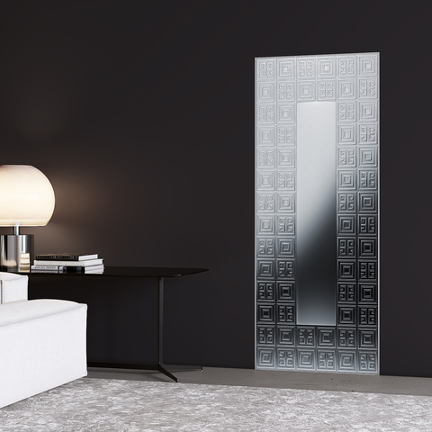 Geometric Pattern Silver Door Mural - DoorTouch