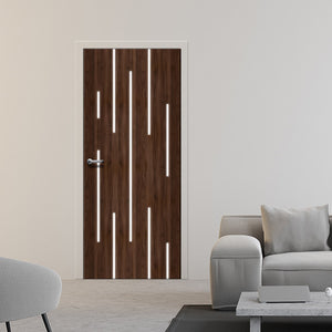 Linear lights Modern door Mural - Dark wood door wallpaper - door light design