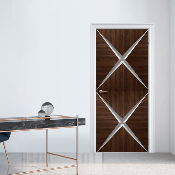 Retro Modern Dark Wood Door Mural - Door wallpaper - Geometric door design