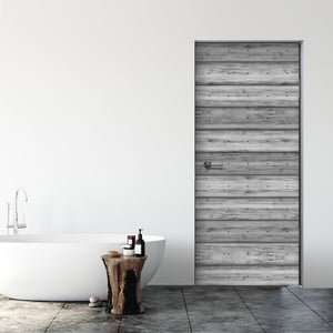 Grey Plank Wood Door Mural - DoorTouch