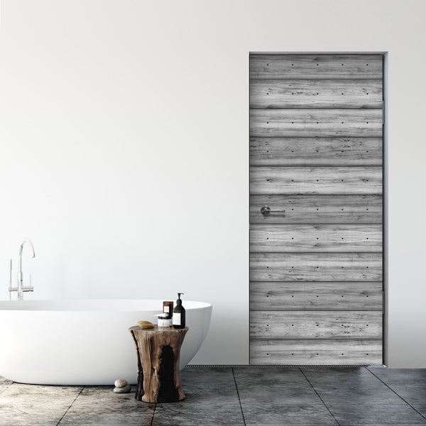 Grey Plank Wood Door Mural - Bathroom Door Wallpaper - | DoorTouch