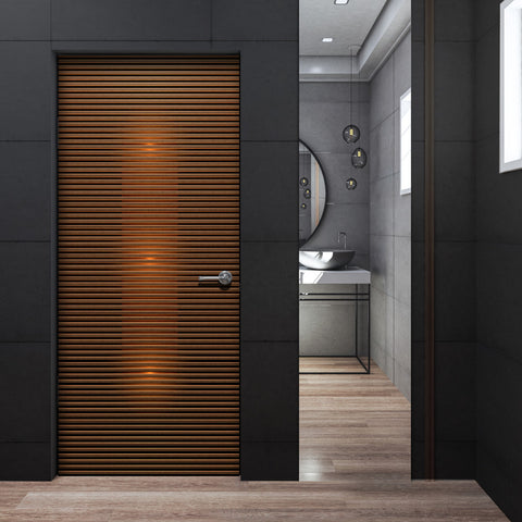 Modern Dark Walnut Door Wallpaper