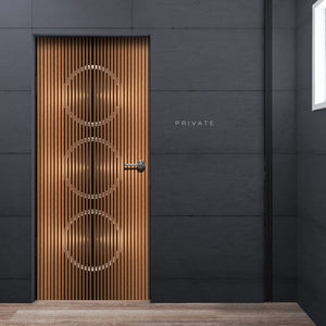 Cool Deco See through 3D Door Wallpaper - Vertical Wood lines Mural