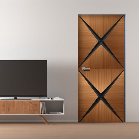 Retro Modern Wood Door Mural - Door wallpaper - Geometric door design