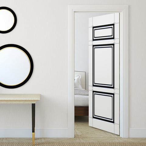 Modern Black & White Door Mural - DoorTouch