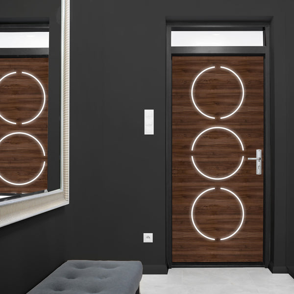 Contemporary Walnut Wood Door Wallpaper