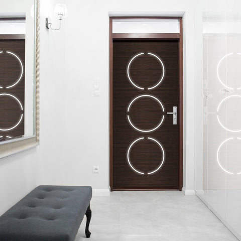 Contemporary Modern door Wallpaper - Dark Wood Door sticker | Pixellogo