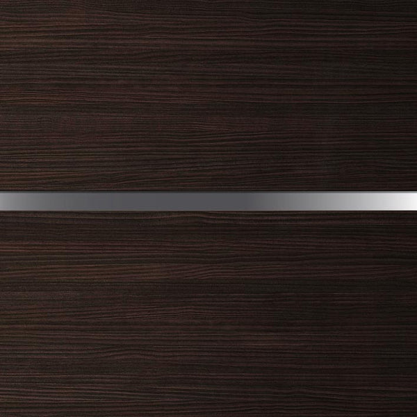 Corporate Office Door - Dark Brown wood with Chrome Trims | DoorTouch