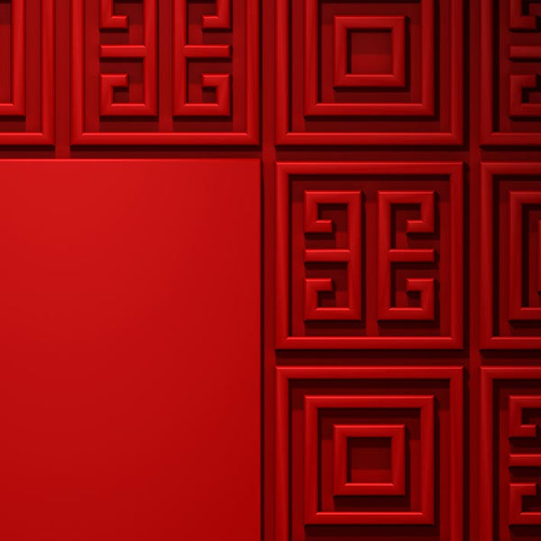 Geometric Pattern Red Door - Door Print | DoorTouch