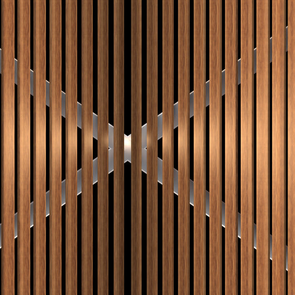 Metal and wood door wallpaper design closeup